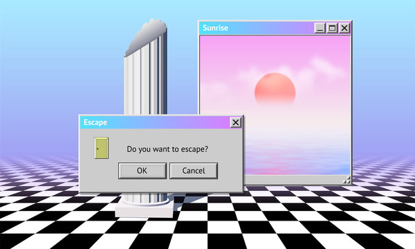 Abstract vaporwave aesthetics computer background with 90s style system message window
