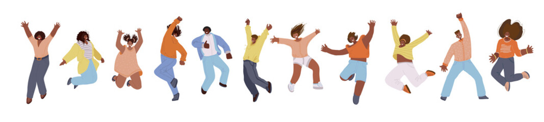Vector flat collection of african american happy men and women, jumping and dancing with cheer, joy, happiness. African american jumping happy people illustration. Happiness, freedom, motion and