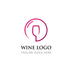 wine logo and icon vector illustration design template