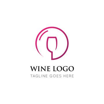 wine logo and icon vector illustration design template