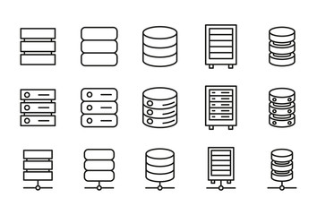 Modern thin line icons set of database.
