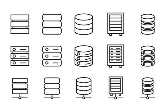 Modern thin line icons set of database.
