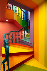 Bright colorful flight of stairs in a public building.