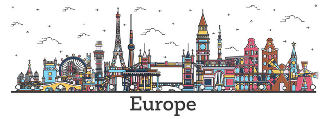 Outline Famous Landmarks in Europe. Business Travel and Tourism Concept with Color Buildings.