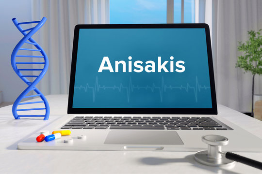 Anisakis – Medicine/health. Computer in the office with term on the screen. Science/healthcare