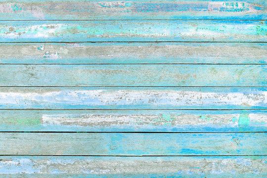 Old wooden blue and white wall texture background