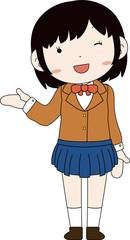 Poster Indiërs Cute pose of cute Black hair schoolgirl