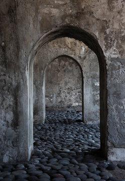 Corridors of San Juan de Ulua prison in Veracruz Mexico
