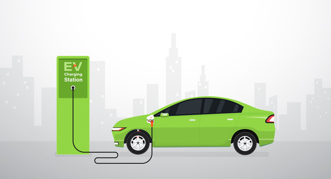 EV Electric car battery charging at station. Vector illustration