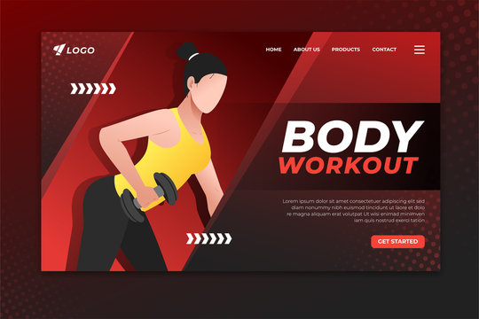 Body workout landing page with woman working out with dumbbell. Sport web page template for gym, personal trainer and fitness center