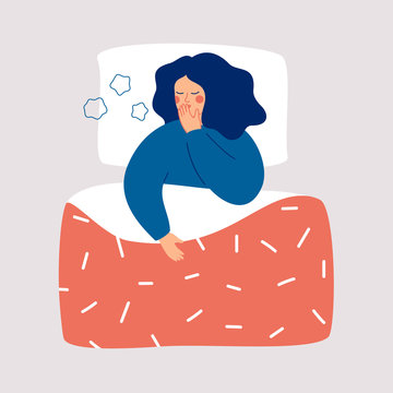 Young woman is lying in the bed and coughing. Sick girl with symptoms of influenza, isolated on light background. Concept of health problem and viral infectious disease. Flat vector illustration.