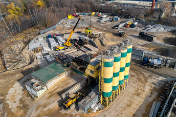Concrete mixing plant aerial view.