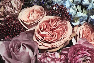 Beautiful fresh bouquet as background, closeup. Floral decor