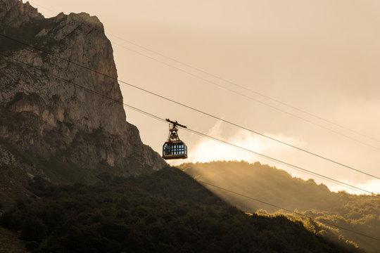 Fuente De, Spain. VIews of the cable car in Picos de Europa national park