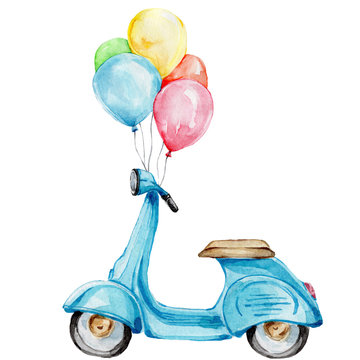 Blue cartoon bike with rainbow balloons; watercolor hand draw illustration; with white isolated background