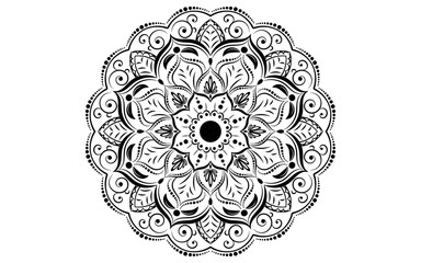 Circular pattern flower of mandala with black and white,Vector mandala floral patterns with white background