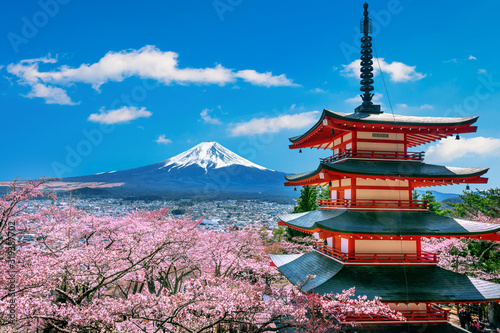 Wall mural Cherry blossoms in spring, Chureito pagoda and Fuji mountain in Japan.