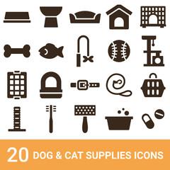 商品アイコン 犬用品 猫用品 シルエット 20セット