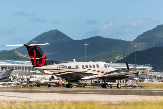 St. Maarten, Netherlands - December 17, 2018: Unknown airplane preparing for takeoff at Princess Juliana International Airport in the Caribbean island of Sint Maarten - Saint Martin.