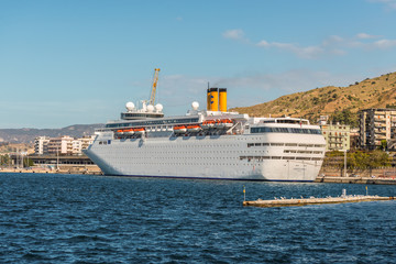 Reggio Calabria, Italy - October 30, 2017: Costa neoClassica Cruise Ship moored in the port of Reggio Calabria, Mediterranean coast, Italy.