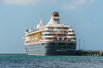 Fort-de-France, Martinique - December 19, 2016: MS Braemar cruise ship moored in port of Fort-de-France, Martinique, Caribbean paradise.