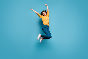 Full length body size view of nice attractive lovely glad cheerful wavy-haired girl jumping having...