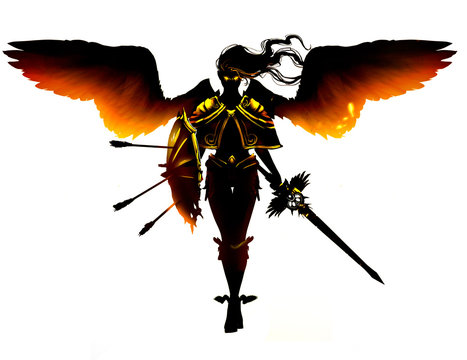 A black angel with yellow fiery eyes and wings with a legendary sword and shield with arrows, gracefully walks forward on the viewer . 2D illustration