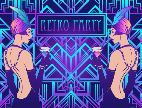 Flapper girl. Art deco, 1920s style, vintage invitation template design for drink list, bar menu, glamour event, wedding, jazz party flyer. Vector illustration in neon colors.