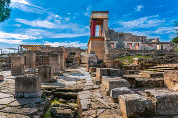 View at the ruins of the famous Minoan palace of Knossos ,the center of the Minoan civilisation and one of the largest archaeological sites in Greece.