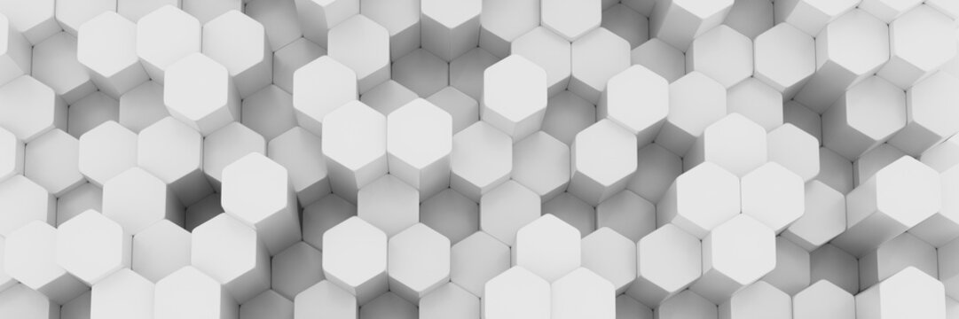 White wall of honeycombs. Chaotic Cubes Wall Background. Panorama with high resolution wallpaper. 3d Render Illustration