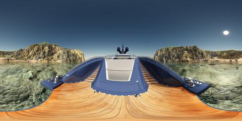 360 Grad Panorama mit einer Luxusyacht in einer Küstenlandschaft