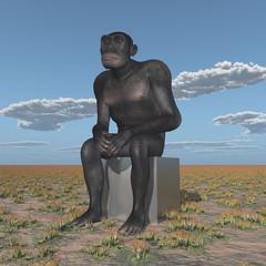 Homo habilis sitzt in einer Landschaft