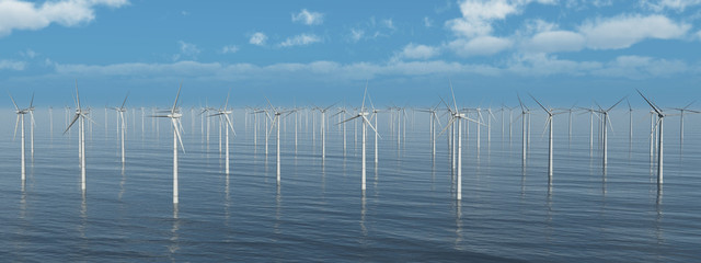 Massenhafte Ansammlung von Windkraftanlagen im Meer