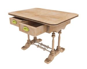 Biedermeier Stil Zwei Schubladen Tisch, Freisteller