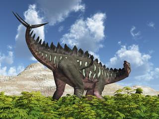 Dinosaurier Miragaia in einer Landschaft