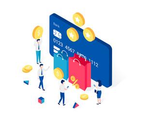 Cashback, rewards and loyalty program isometric concept.
