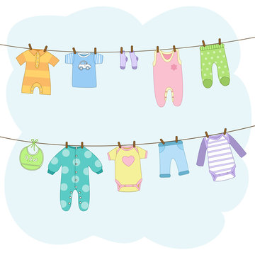 Clean baby clothes hanging on a ropes. T-shirt, dress, romper, bodysuit, pants, bib, socks. Icon collection or elements for invitation. Vector illustration in cartoon style