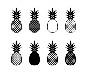 Black abstract pineapple design elements isolated vector illustration