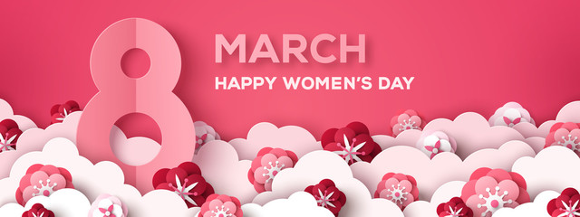 Women's Day horizontal greeting card or banner with eight sign and paper cut clouds and flowers on pink background. Vector illustration. Place for your text.