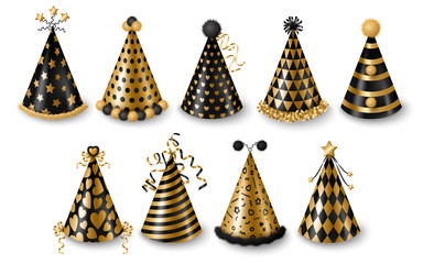 Set of gold and black party hats isolated on white background, New year and Carnival celebration elements. Vector illustration. Modern colored caps with patterns, funny holidays design