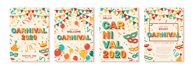 Türaufkleber Wanddekoration mit eigenen fotos Set of 2020 Carnival cards or banners with typography design. Vector illustration with retro light bulbs font, streamers, confetti and hanging flag garlands. Place for text