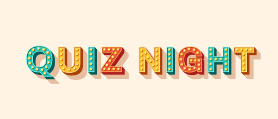 Fototapeta Quiz night banner with retro lettering. Typography 3d font with light bulbs. Casino style text isolated on white background. Fast questions and answers game.