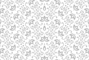 Fotorolgordijn Geometrisch Flower geometric pattern. Seamless vector background. White and grey ornament. Ornament for fabric, wallpaper, packaging. Decorative print.