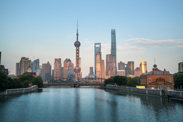 Shanghai skyline and Waibaidu bridge, China
