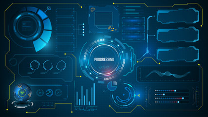 ui hud futuristic technology innovation concept virtual system interactivity design
