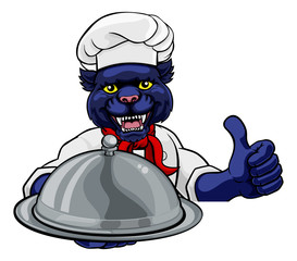 A panther chef mascot cartoon character holding a silver platter cloche dome of food peeking round a sign and giving a thumbs up