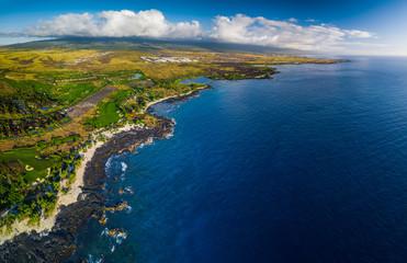 Wall Mural - Aerial panorama of the western coastline of the Big Island, Hawaii