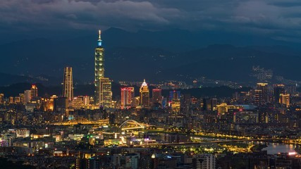 Wall Mural - Day to night Time-lapse Aerial view of Business district in city of Taipei, Taiwan at sunset