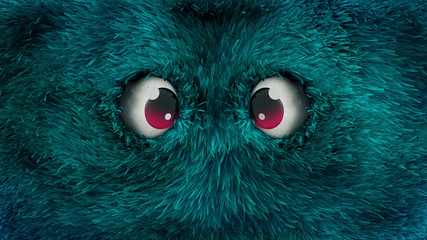 blue monster with hairy face Fotobehang