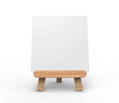 Advertising picture calendar display blank art board  mini easel wooden stand or standee template mock up. 3d render illustration.